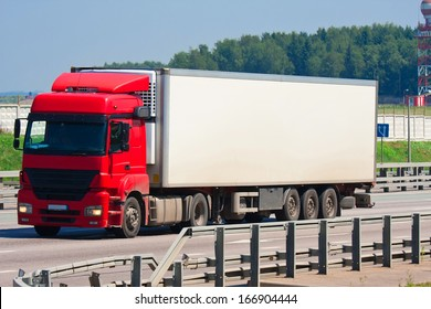 Beautiful photo of big truck on highway, Moscow, August 12, 2013