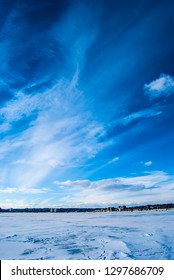 Beautiful photo of downtown Barrie from a frozen Kempenfelt Bay on a sunny day