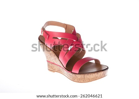 77b493d3e6563 Beautiful photo of female leather sandals isolated on white background.  Pink sandals