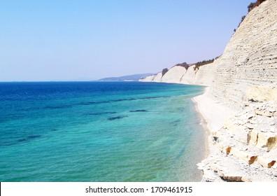 Beautiful photo of a high seashore on The black sea coast in Russia the city of Gelendzhik