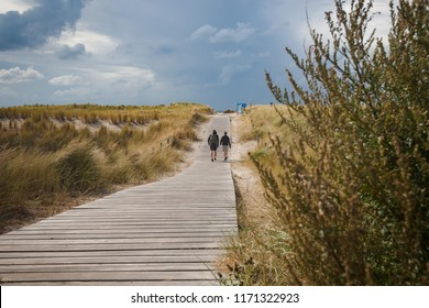 Beautiful photo of recreation along the Dutch sea coast between waving dune grass, strong wind, white clouds skies. Walking and relaxation during a beautiful summer day