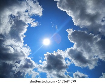 Beautiful photo of the sky with the sun and big white clouds