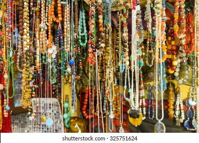 Beautiful photo of souvenir shops in the Arab quarter .