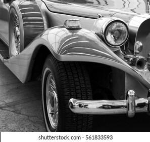 Beautiful photo of a stunning retro car. Stylish vehicle. Nostalgia of past time. Close up. Black and white photography. Minsk. Belarus. East Europe - 23 February, 2016