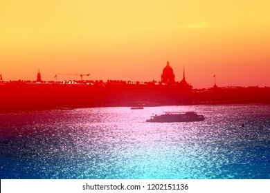 Beautiful photo view from above of St. Petersburg on an autumn sunset day