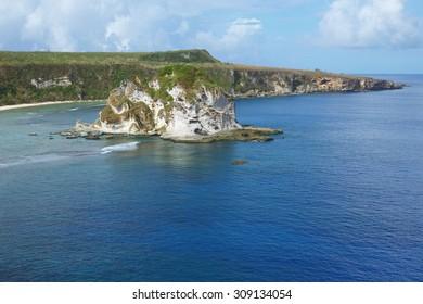 A beautiful photograph of the popular tourist site Bird Island on the island of Saipan.