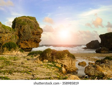 A beautiful photograph of the popular tourist site Old Man by the Sea on the island of Saipan.