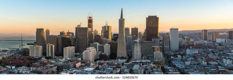 Beautiful Photography of Downtown San Francisco sunset