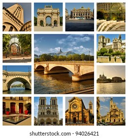 Beautiful photos of the bridge over the Seine river in Paris and other famous places. Collage.