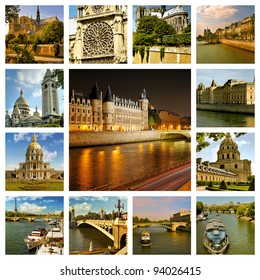 Beautiful photos of the cathedral notre dame, bridges over river Seine and other famous places in Paris . Collage.