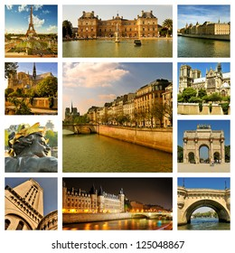 Beautiful photos of the Eiffel tower, bridges and palaces in Paris and other famous places. Collage. France
