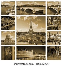 Beautiful photos of the Eiffel tower in Paris and other famous places in sepia. Collage