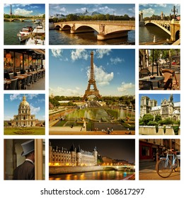 Beautiful photos of the Eiffel tower in Paris and other famous places. Collage