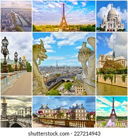Beautiful photos of Paris. Eiffel tower and other famous places and landmarks of Paris. Collage travel background