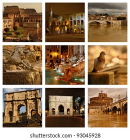 Beautiful photos of the Trevi fountain in Rome and other famous places. Collage