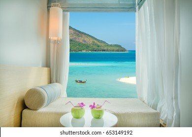 Beautiful Phuket tropical sea view at window in resort, Phuket ,Thailand. Summer, Travel, Vacation and Holiday concept in Phuket, Thailand