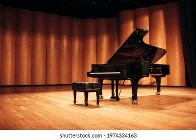 Beautiful piano in concert hall
