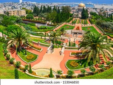 A beautiful picture of the Bahai Gardens in Haifa Israel.