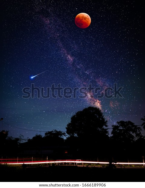 Beautiful Picture Night Skystars Red Moon Nature Stock Image 1666189906