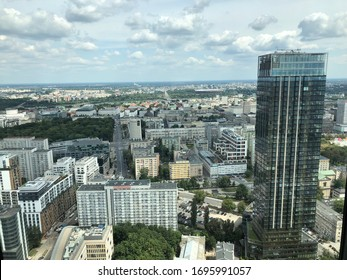 Beautiful picture showing the panorama of the center of Warsaw.