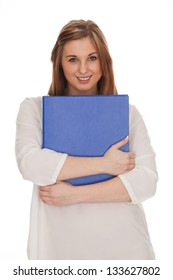 beautiful pictures of model in studie holding a folder