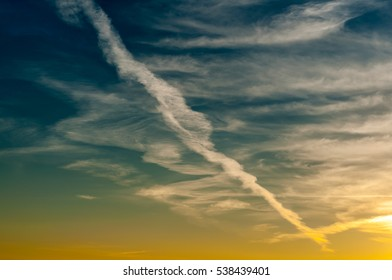 beautiful picturesque morning cloudy sky with turbulence traces. dawn. background