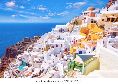 Beautiful picturesque Oia village on Santorini island, Greece with traditional white architecture