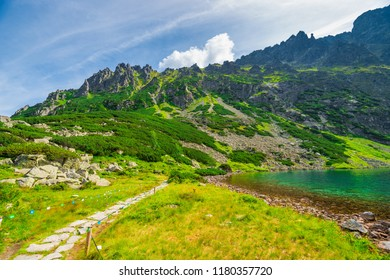 Beautiful picturesque Tatry Mountains and Lake Czarny Staw
