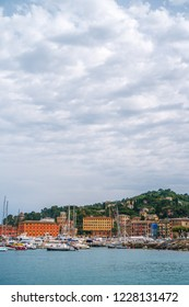 Beautiful picturesque view on yachts and boats near Santa Margherita Ligure coast on a cloudy day.