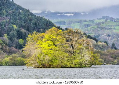 Beautiful picturesque volcanic lake in Volcans d'Auvergne regional natural park, Monts Dore Mountains, Auvergne, France.