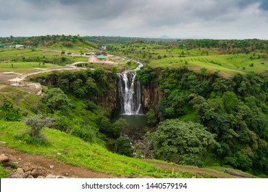 Beautiful Picturesque Waterfall , Forest and Landscape in Central India near Mhow, Indore, Madhya Pradesh, It is known as Patalpani Waterfall