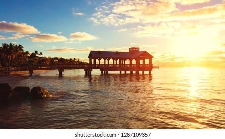 Beautiful pier at sunrise in Key West, Florida