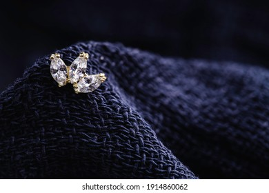 Beautiful piercing jewelry. Macro shot. Selective focus.