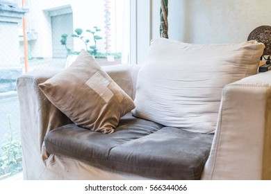 Beautiful pillow on sofa interior decoration in living room