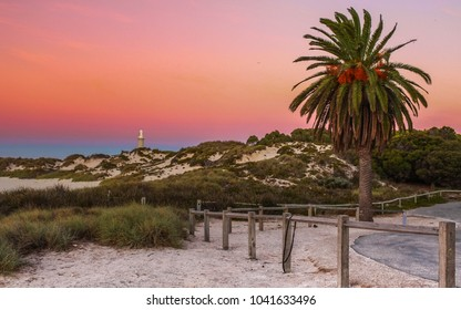 Beautiful pink and blue sunset at Pinky Beach on Rottnest Island in Western Australia.