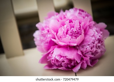 Beautiful pink bouquet sitting on a chair