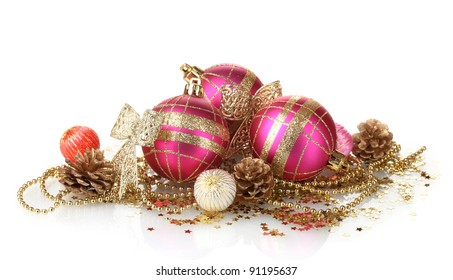 beautiful pink Christmas balls and cones isolated on white