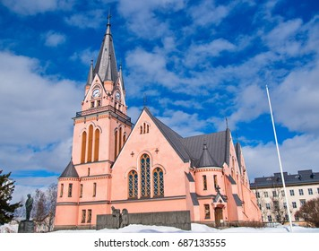 Beautiful pink church in Kemi, Finland.