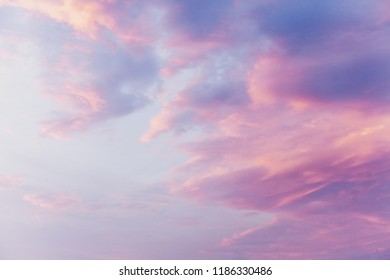 Beautiful pink clouds at sunset of a summer day