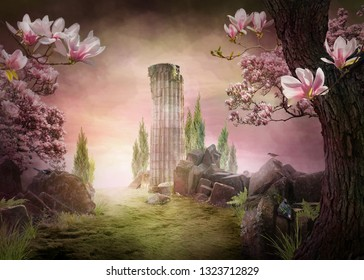 Beautiful, pink dreamy spring magnolia blossom landscape, can be used as background or wallpaper