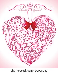 Beautiful pink floral heart
