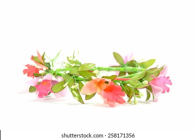beautiful pink flower crown isolated on white background