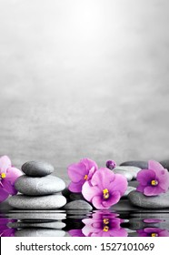 Beautiful pink flower and stone zen spa on grey background