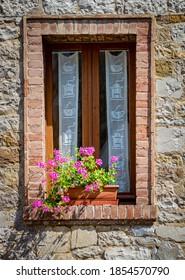 Beautiful pink geraniums fill a flower box next to a window