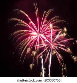 Beautiful pink and gold fireworks against a black sky