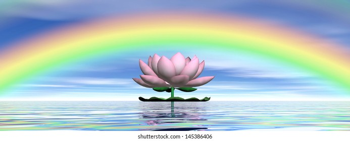 Beautiful pink lotus flower on water and under rainbow and cloudy blue sky
