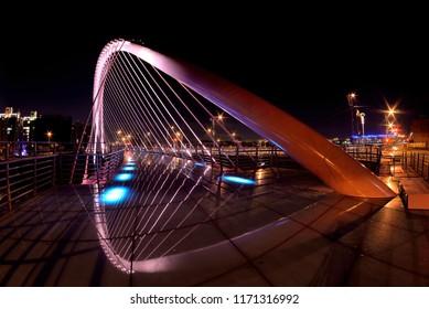 Beautiful pink night love bridge