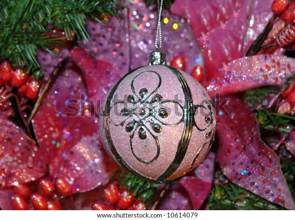 Beautiful Pink Poinsettias Decorate Christmas Tree Stock Photo Edit Now 10614079