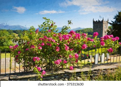 Beautiful pink roses climbing on a rail by a church with grave stones and tree in summer with sunshine and blue sky Hawkshead Lake District illustration like oil painting