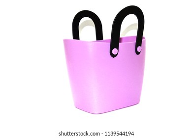 Beautiful pink shopping bag with white background